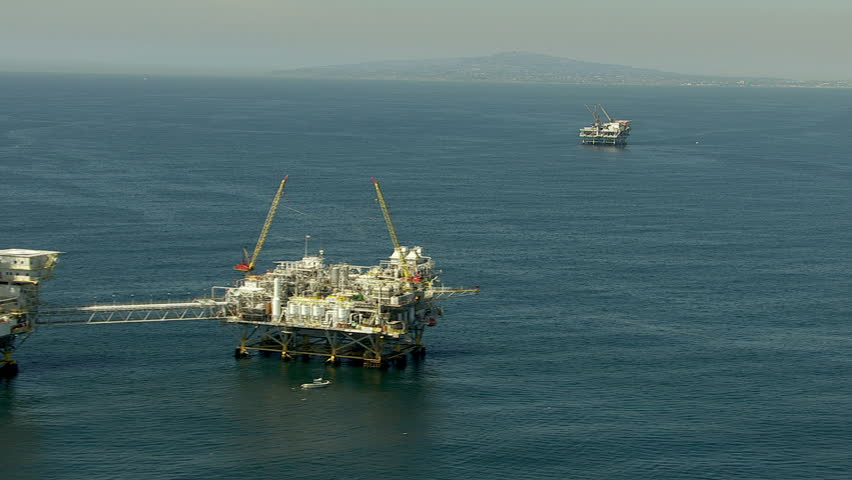 Aerial shot of off shore oil platforms