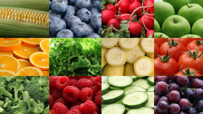 Fresh fruits and vegetables, video montage