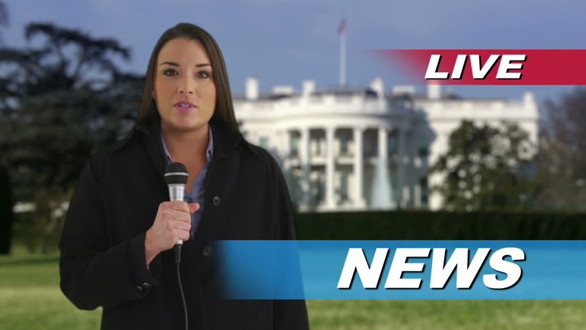 News reporter speaking in front of White House