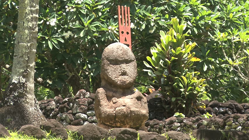 Tahiti sacred place statue - HD stock footage clip