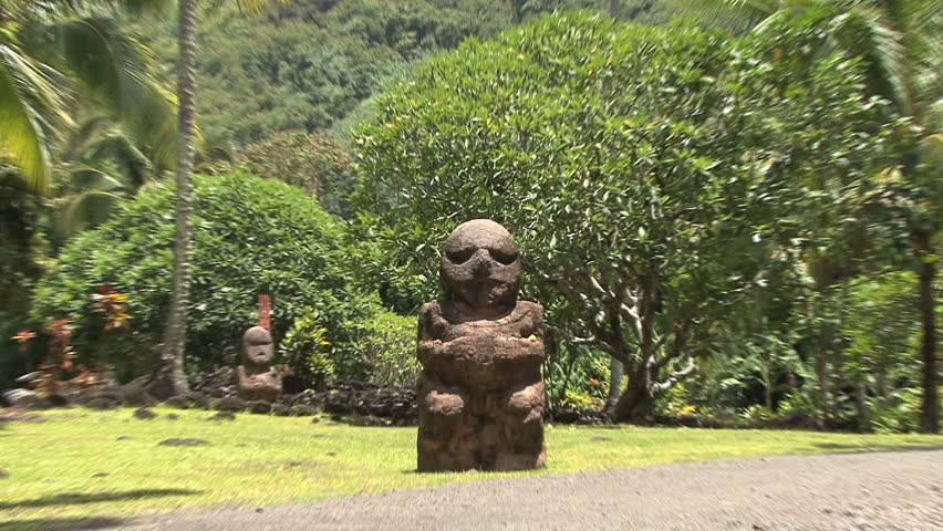 Tahiti tiki statue in sacred place - HD stock footage clip