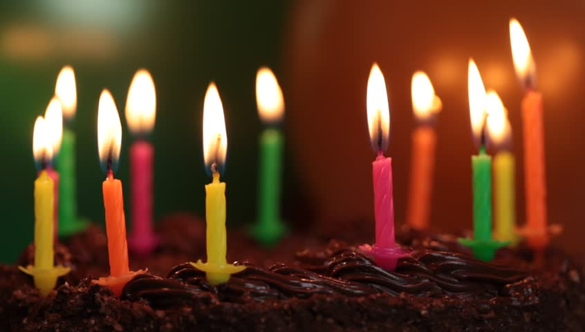 Candles on the birthday cake episode 5 - HD stock footage clip