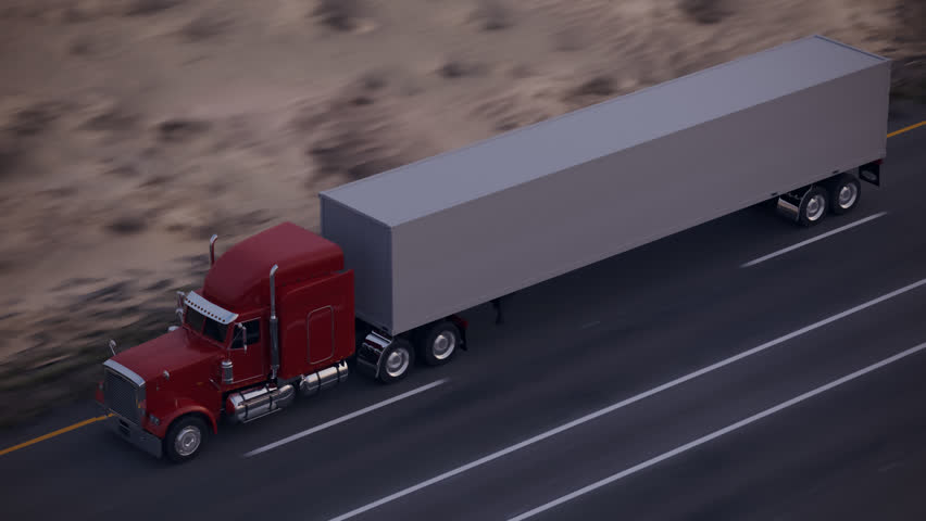 Loopable Animation Presenting An 18 Wheel Truck On The ...