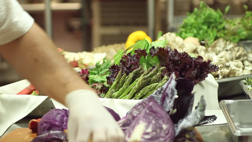 Preparing the vegetables - HD stock footage clip