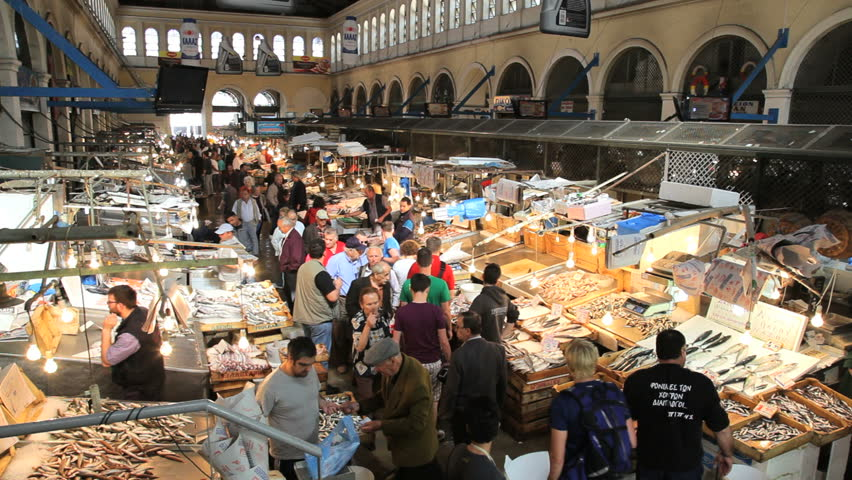 Athens greece sept 2014 athens greece local covered for Central fish market