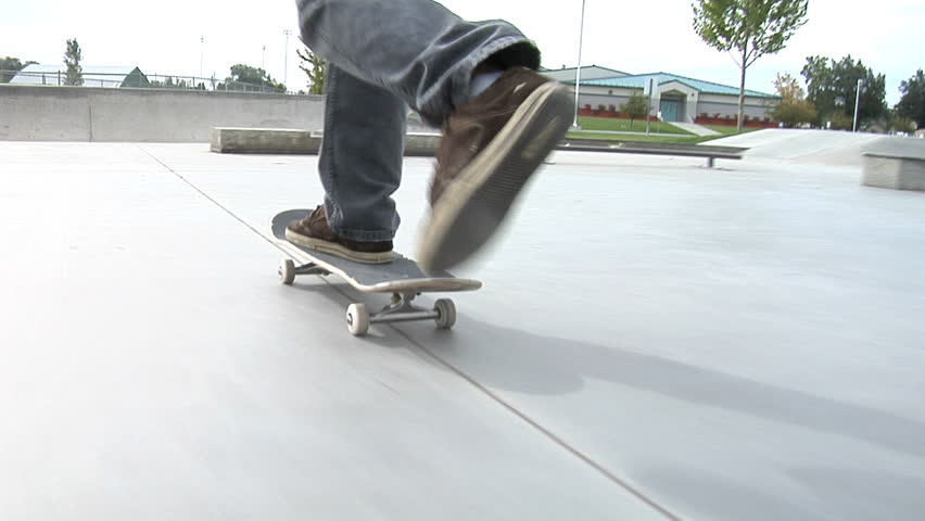 Tracking shot of skateboarder  - HD stock video clip