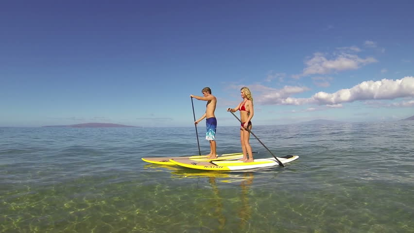 Stand Up Paddling in Hawaii - HD stock video clip