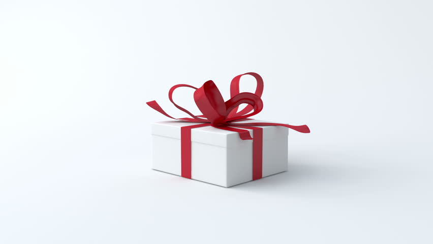 White low gift box with red ribbon opening. Include alpha and chroma channel  | Shutterstock HD Video #4642232