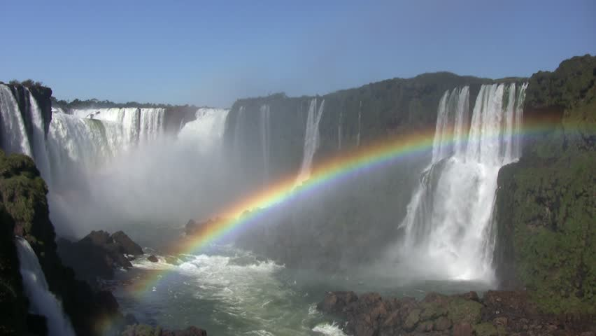 Iguazu falls, panoramic view with rainbow in the water spray (HDV 1080i native, Can. HV30).