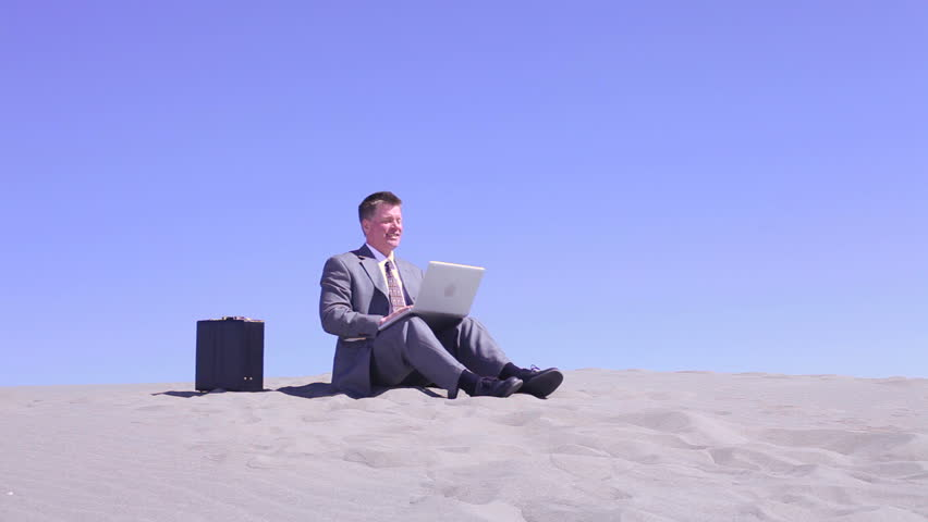 Businessman Laptop Desert