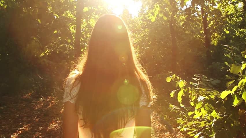 Vintage Dress Bride Running Slow Motion Forest Sun HD