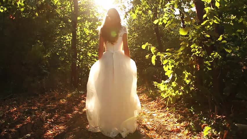 Princess Dress Woman Running Fairy Tale Forest Concept HD