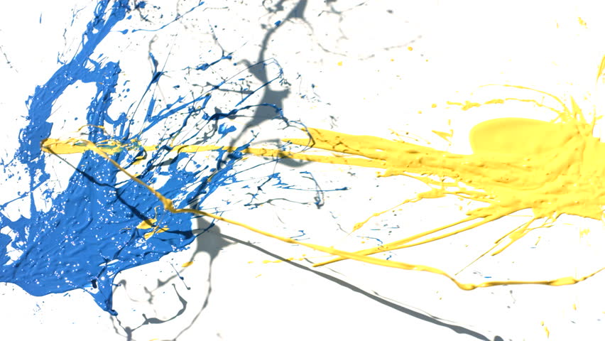 Yellow and blue paint splattering on white background