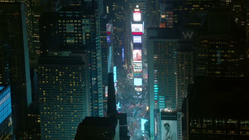 Aerial shot of Times Square, night  | Shutterstock HD Video #4657469