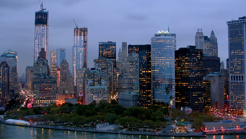 Fast approach to Manhattan at dusk, aerial shot | Shutterstock HD Video #4662005