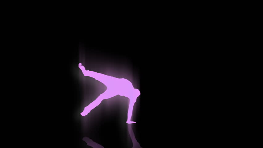A purple break dancer tears it up on a black background