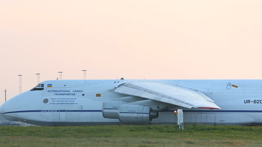 OSLO AIRPORT 13 SEPT 2013: World largest serial produced airplane, Antonov An124