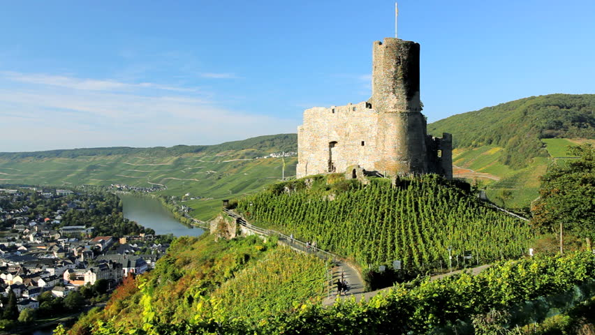 Tourists visiting the ruins of Landshut castle overlooking the vineyards and river at Mosel, Bernkastel, Kues, Germany | Shutterstock HD Video #4680860