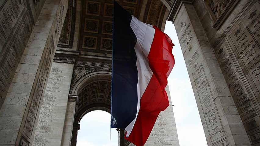 French Flag under Arch de Triumph during Victory Day in Paris France | Shutterstock HD Video #4694171