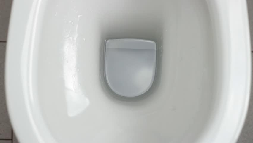 Flush clean wc, water splash in toilet.