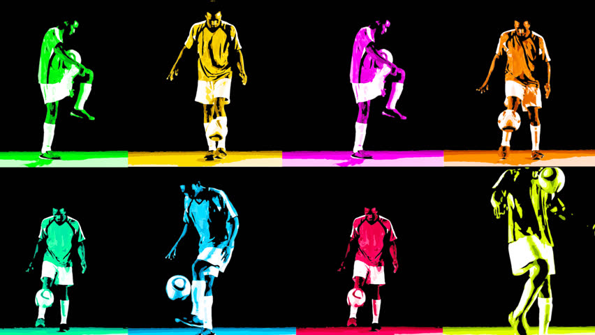 CGI colorful graphic grid of multiple soccer players juggling the ball and doing tricks
