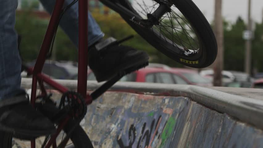 Extreme Sport Peg Stall on BMX - HD stock video clip