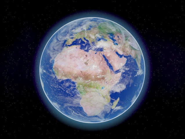 Photorealistic 3D rendering of planet earth viewed from space, 53 seconds spinning in a perfect loop.