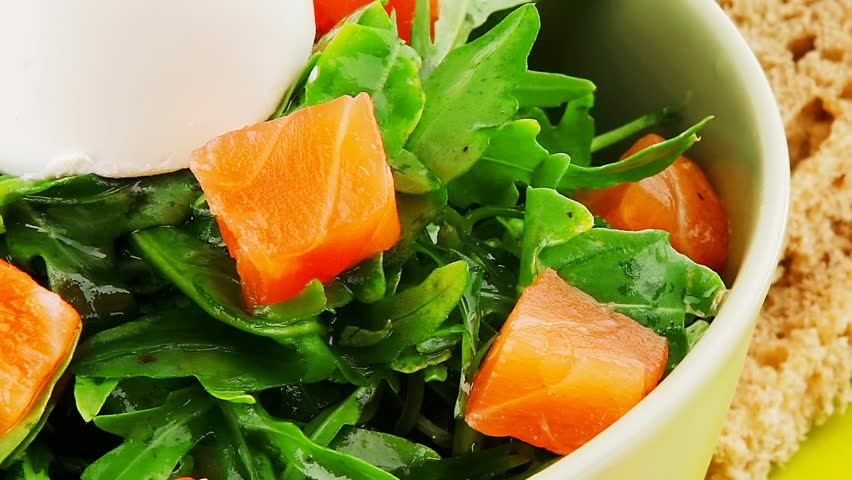 green salad with smoked salmon and bread on plate 1920x1080 intro ...