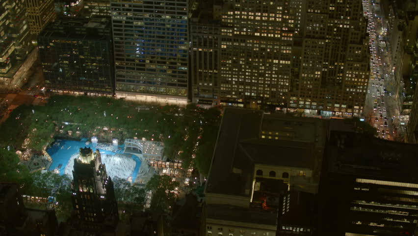 Aerial view of Bryant Park ice rink | Shutterstock HD Video #4785233