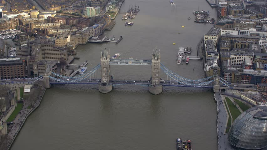 Aerial View of Tower Bridge in Central London, UK.