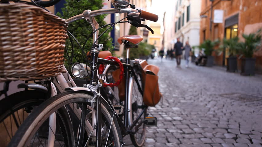 Rome, Italy - April 10th, 2013: Vintage bikes on a street in Rome