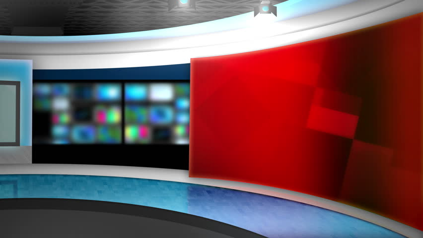This background is designed to be used as a virtual background in a green screen or chroma key video production.  The studio can be used as a news set or broadcasting studio layer in a video editor.  | Shutterstock HD Video #4801154