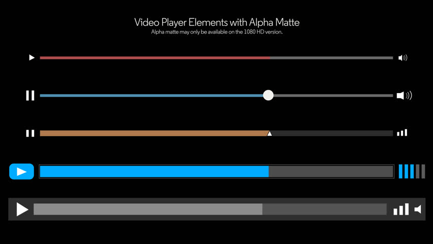 A collection of 5 video player slider elements.  With alpha matte for easy