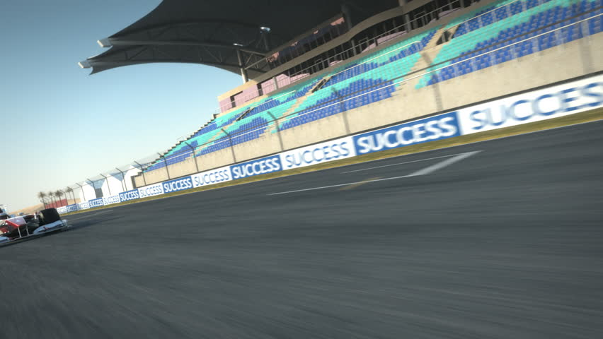 Formula One race car speeding along home stretch - high quality 3d animation - visit our portfolio for more
