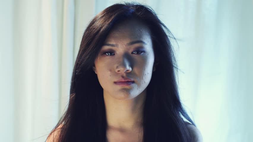 Depressed Woman Crying Beautiful Woman Walkin...