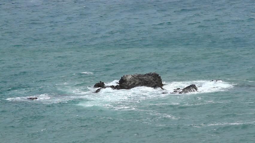 Rock in the sea  - HD stock footage clip