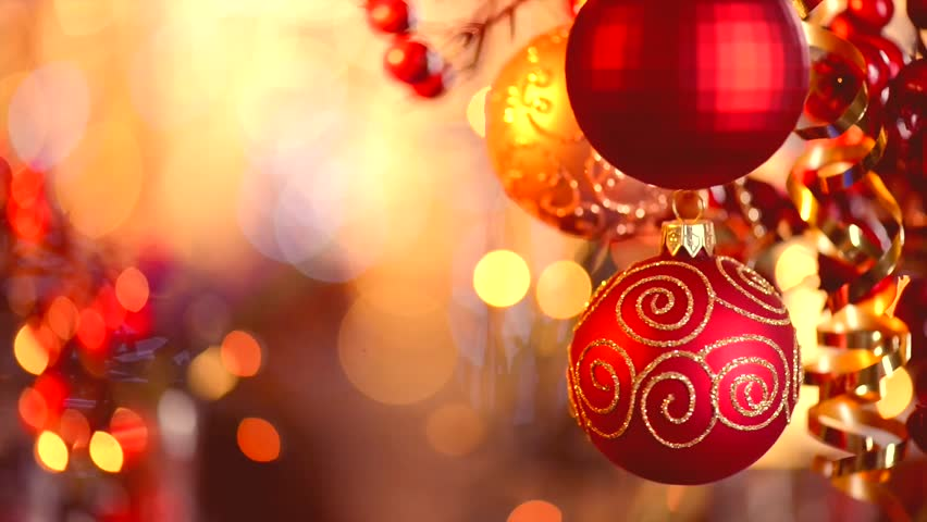 Christmas and New Year Decoration. Abstract Blurred Bokeh Holiday Background. Blinking Garland. Christmas Tree Lights Twinkling. #4820945