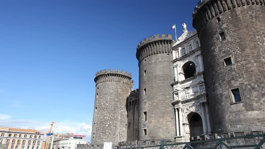 Castel Nuovo (New Castle), also called Maschio Angioino, medieval castle in Naples, Italy - HD stock footage clip