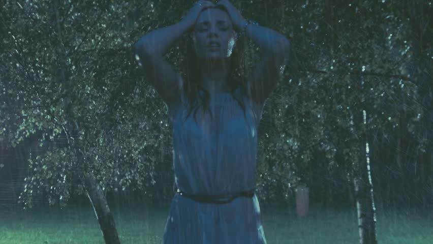 Sad Woman In The Rain Stock Footage Video 4864727 ...