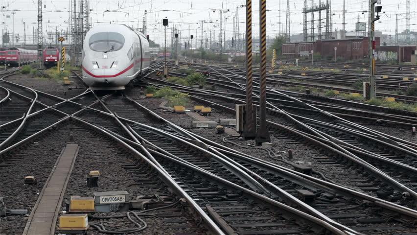 FRANKFURT, GERMANY - OCTOBER 12: A German highspeed ICE train is arriving at main station Frankfurt on October 12, 2013