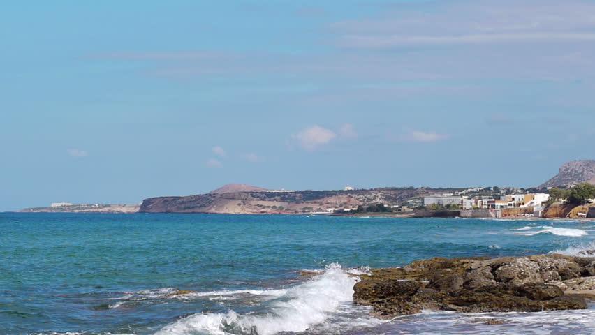 Resort city on the coast of the Mediterranean sea, Greece, Crete  - HD stock video clip