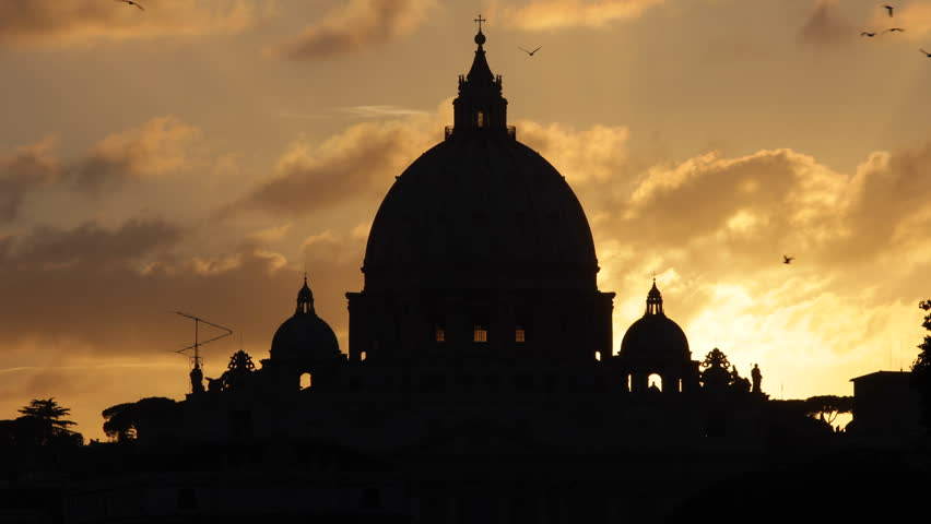 Golden Sunset St. Peter's Basilica Vatican City Rome Italy, San Pietro Vaticano - HD stock video clip