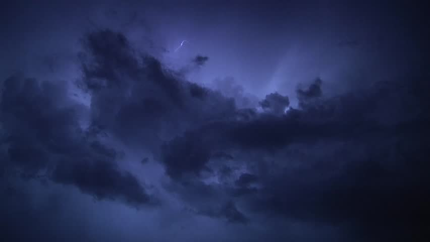 Thunderstorm clouds at night with lightning. 7.