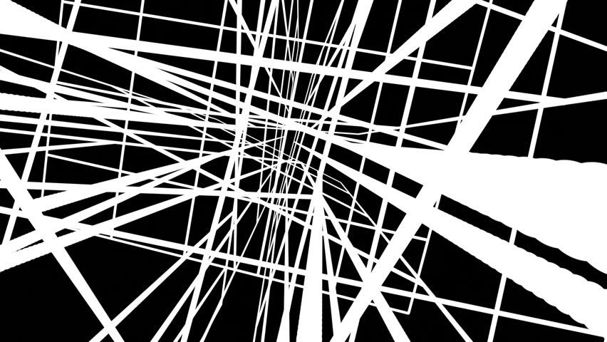 Chaotic Random White Lines Abstract Motion Black Background