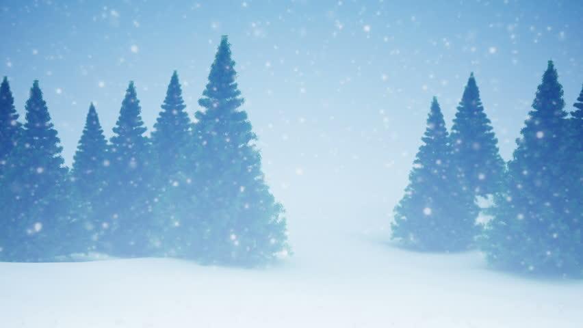 Snow and Christmas trees. HD 1080. Seamless loop