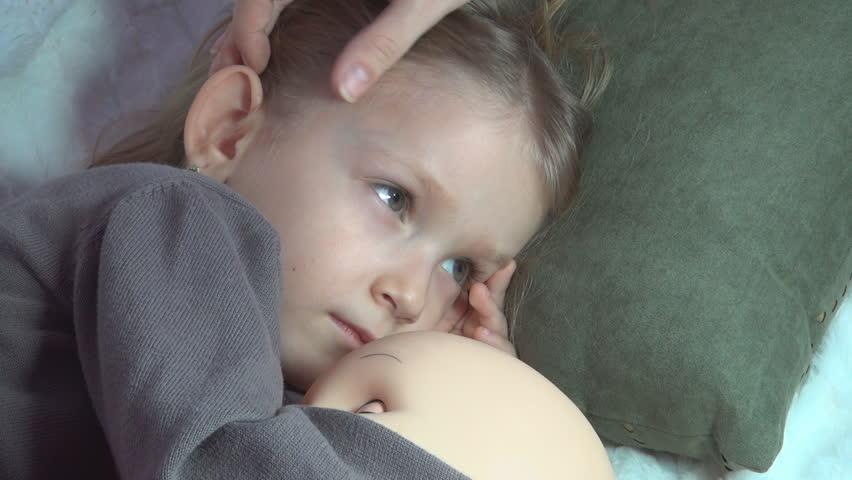 Sick Child, Mother Nursing, Petting her Little Girl, Kid Watching TV, Children
