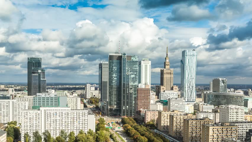Warsaw Skyline City Timelapse with cloud Dynamic in Full HD 1080p, Polish Capital | Shutterstock HD Video #4927532