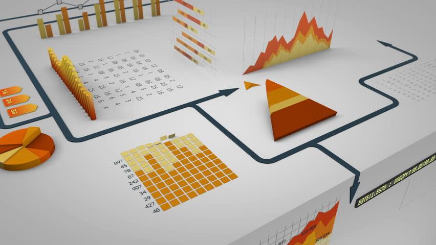 Arrow running on financial charts - HD stock video clip