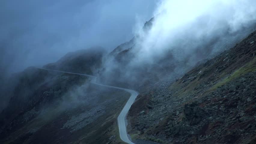 road. foggy mountain landscape. time lapse. nature. 1920x1080. fog clouds. #4931789