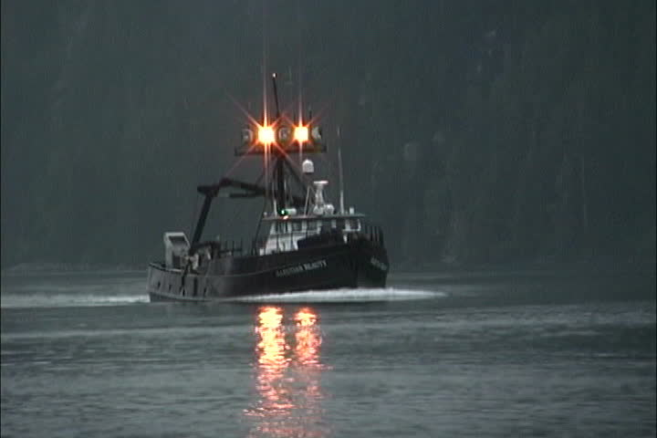 Trawler with Lights - SD stock video clip